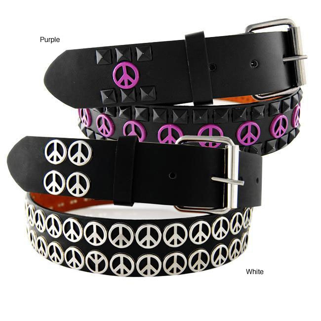 Men's Peace Sign Stud Faux Leather Belt
