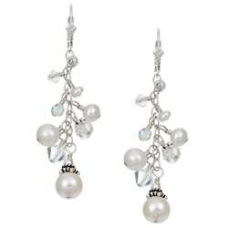 Lola's Jewelry Sterling Silver White Pearl/ Crystal Fringe Earrings (3-9 mm)