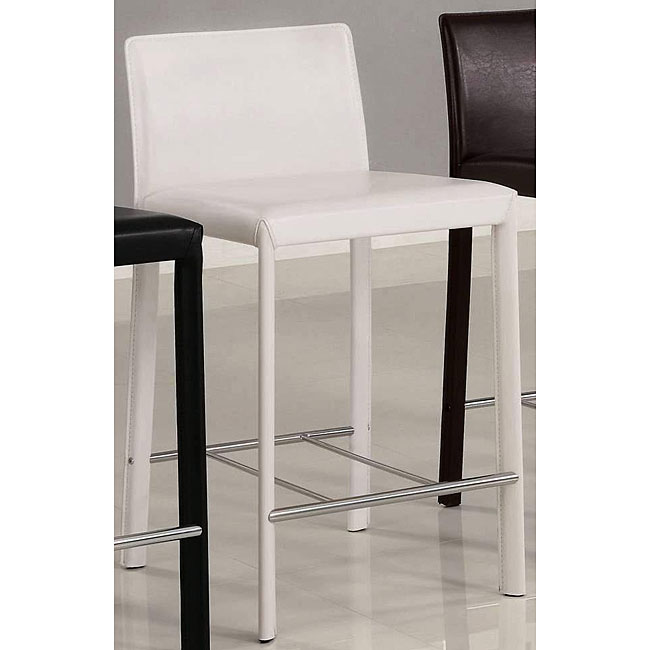 Euro Design White Bicast Leather Counter Stools (Set of 2)
