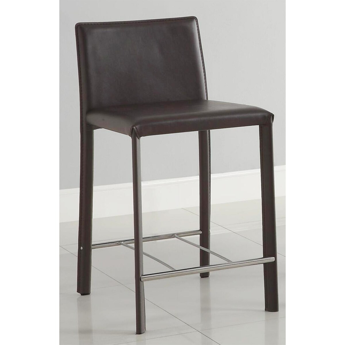 Euro Design Brown Bicast Leather Counter Stools (Set of 2)