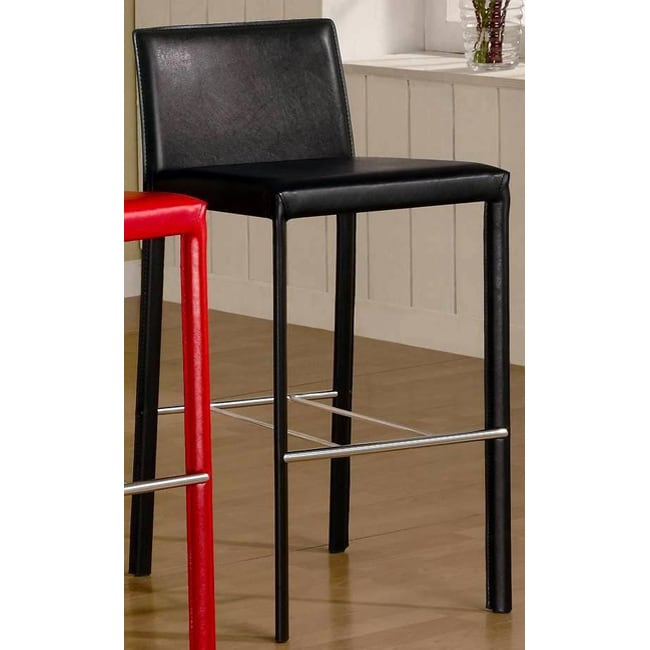 Euro Design Black Bicast Leather Barstools (Set of 2)