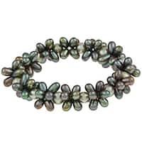 DaVonna Multi-green freshwater Pearl Stretch Bracelet (4-4.5, 7-7.5 mm)