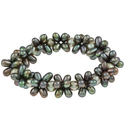 DaVonna Multi-green freshwater Pearl Stretch Bracelet (4-4.5, 7-7.5 mm)
