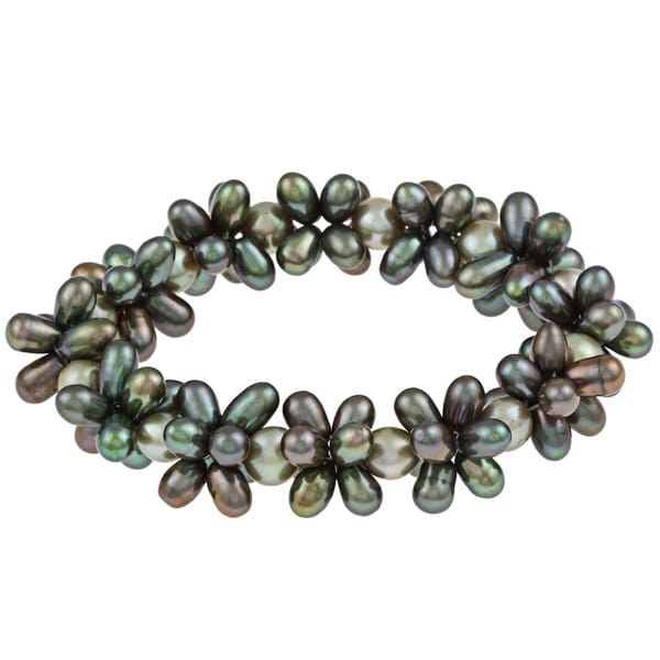 DaVonna Multi-green FW Pearl Stretch Bracelet (4-4.5, 7-7.5 mm)