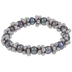 DaVonna Multi-grey FW Pearl Stretch Bracelet (4-4.5 mm/ 7-7.5 mm)