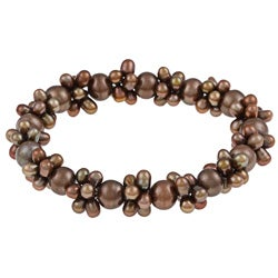 DaVonna 4-7mm Brown Colored freshwater Pearl Stretch Bracelet