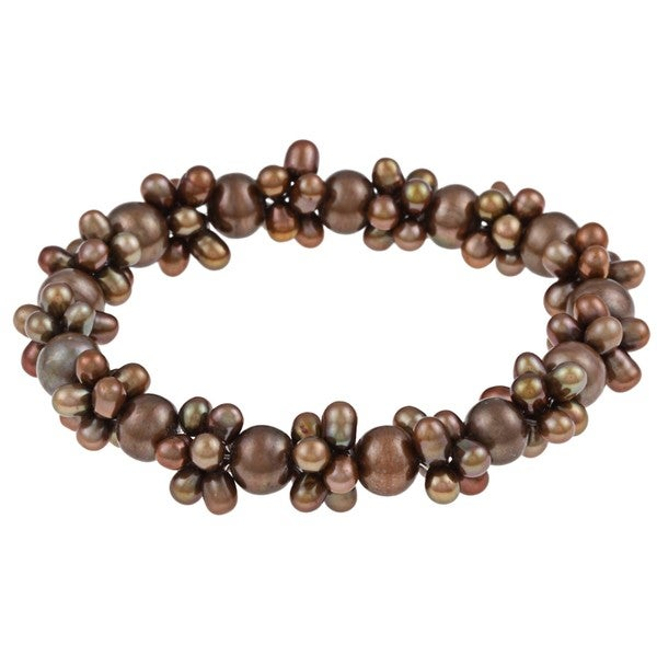 DaVonna Brown Colored FW Pearl Stretch Bracelet (4-4.5 mm/ 7-7.5 mm)