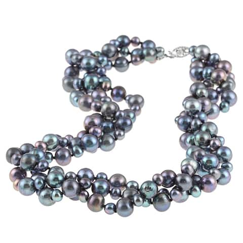 """DaVonna Sterling Silver 4 -8 mm Black Freshwater Pearl 3-row Twisted Necklace 18"""""""