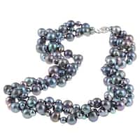 DaVonna Sterling Silver 4 -8 mm Black Freshwater Pearl  3-row Twisted Necklace 18""