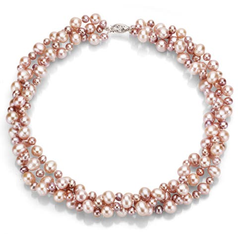 DaVonna Sterling Silver Pink Freshwater Pearl 3-row Twisted Necklace (4-5 mm, 7-8 mm)