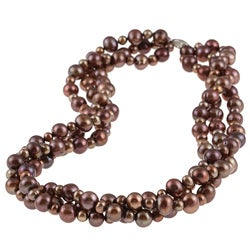 DaVonna Sterling Silver 4 -8 mm Chocolate Freshwater Pearl 3-row Twisted Necklace 18