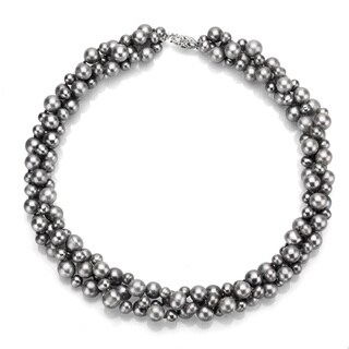 DaVonna Sterling Silver 4 -8 mm Grey Freshwater Pearl 3-row Twisted Necklace 18