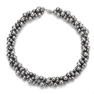 """DaVonna Sterling Silver 4 -8 mm Grey Freshwater Pearl 3-row Twisted Necklace 18"""""""