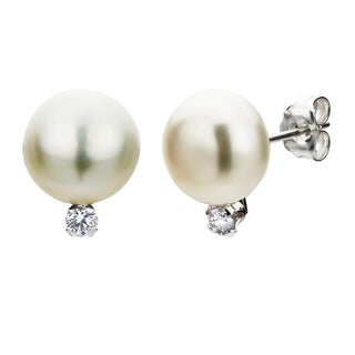 DaVonna Silver White 8-8.5mm Pearl and Diamond Earrings with Gift Box