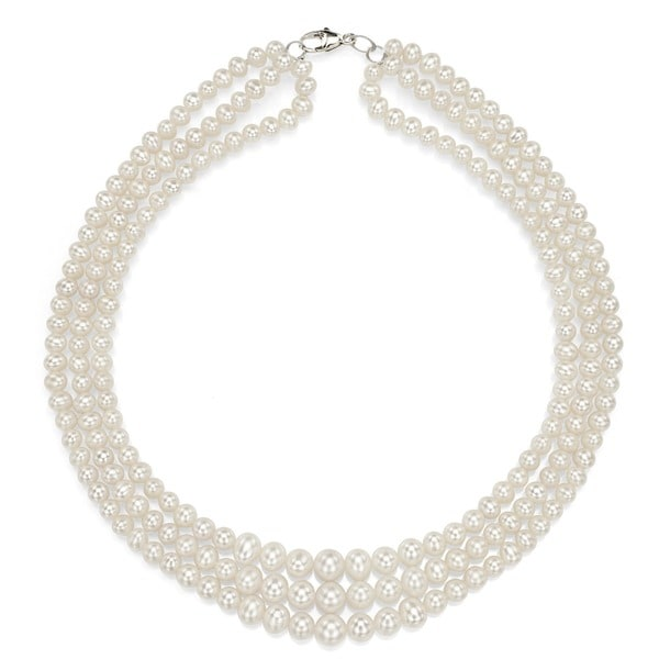 DaVonna Silver Freshwater Graduated White Pearl 3-strand Necklace (4-7 mm)