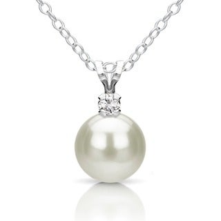 DaVonna Sterling Silver 8.9 mm White Freshwater Pearl and Diamond Pendant Necklace 18""