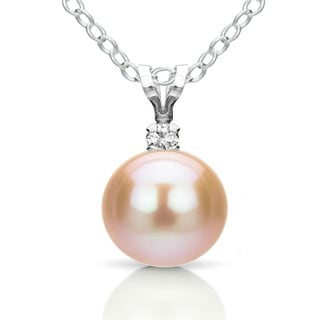 DaVonna Silver Pink FW Pearl and Diamond Pendant Necklace (8-8.5 mm)