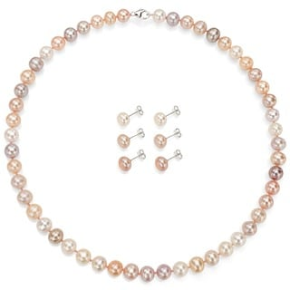 DaVonna Silver Multi Pink FW Pearl Necklace and 3-pair Earrings Set (8-9 mm)