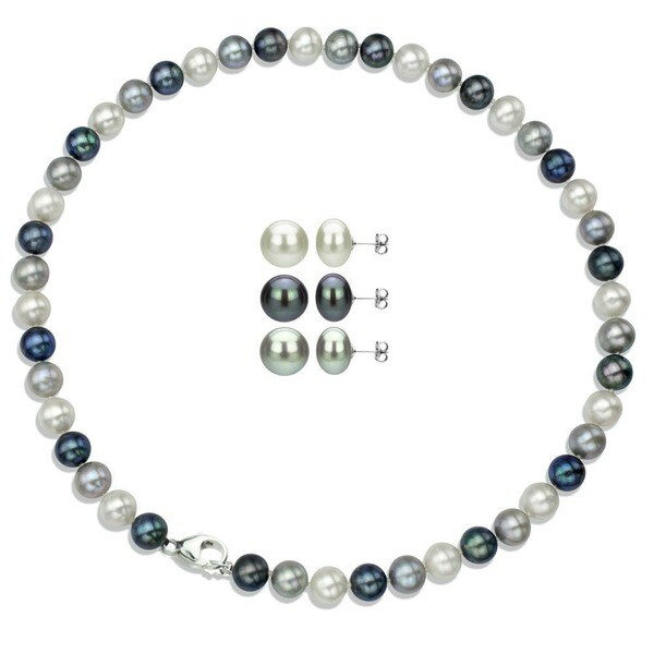 DaVonna Silver Multi Dark FW Pearl Necklace and 3-pair Earrings Set (8-9 mm)