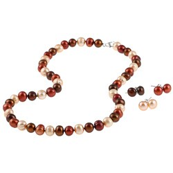DaVonna Silver Champange FW Pearl Necklace and 3-pair Earrings Set (8-9 mm)