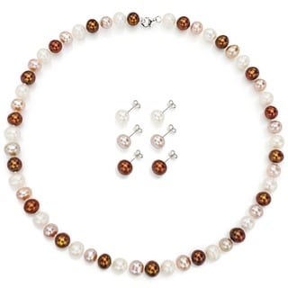 DaVonna Silver Multicolor FW Pearl Necklace and 3-pair Earrings Set (8-9 mm)