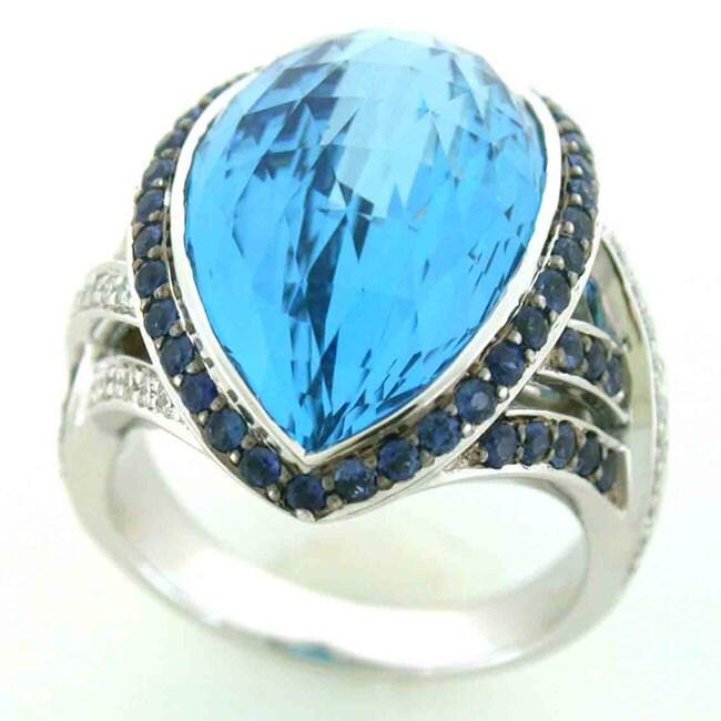 18k White Gold Blue Topaz, Sapphire and 1/4ct TDW Diamond Ring