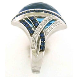 18k White Gold Blue Topaz, Sapphire and 1/4ct TDW Diamond Ring - Thumbnail 1