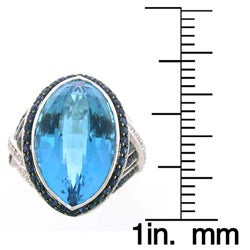 18k White Gold Blue Topaz, Sapphire and 1/4ct TDW Diamond Ring - Thumbnail 2