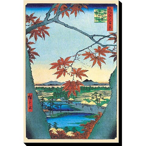 Hiroshige 'Maple Trees' Gallery-wrapped Canvas Art