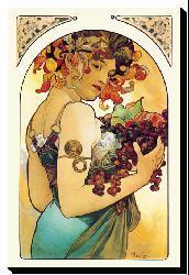 Alphonse Maria Mucha 'Fruit' Gallery-wrapped Canvas Art - Thumbnail 1