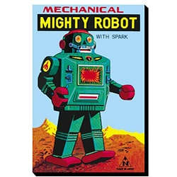 'Mechanical Mighty Green Robot' Gallery-wrapped Canvas Art
