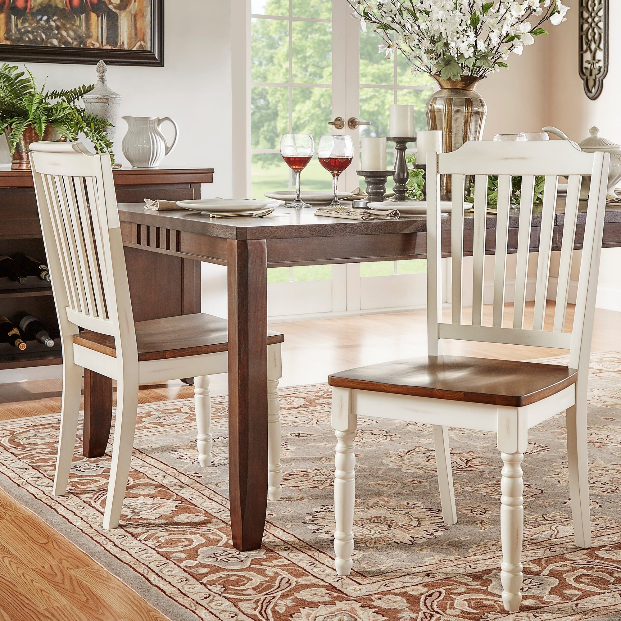 Country Style Dining Set: Mackenzie Country Style Two-tone Dining Chairs (Set Of 2