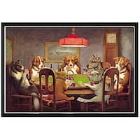 'Dog Poker - Passing The Ace' Framed Print Art