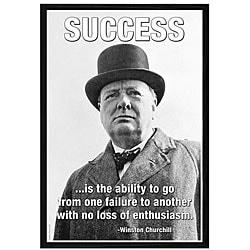 'Success - Winston Churchill' Framed Art Print