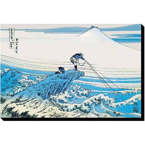 Katsushika Hokusai 'Fishing in the Surf' Giclee Canvas Art
