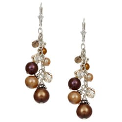 Charming Life Sterling Silver Bronze/ Champagne Pearl Fringe Earrings (3-9 mm)
