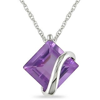 Miadora 10k White Gold Square-cut Amethyst Crossover Solitaire Necklace
