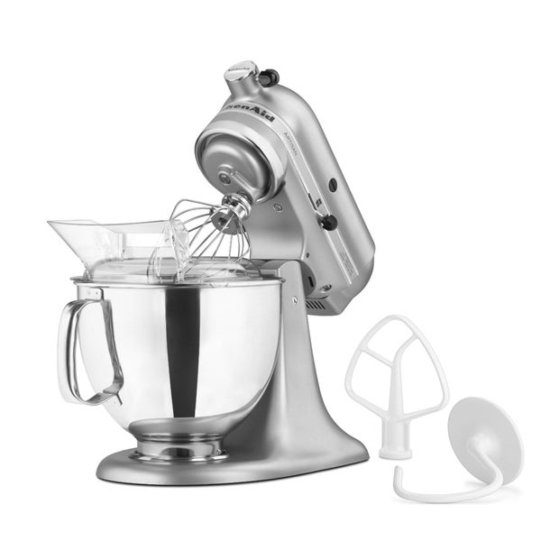 KitchenAid KSM150PSSM Silver Metallic 5-quart Artisan Tilt-Head Stand Mixer. Opens flyout.