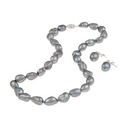 DaVonna Silver Grey FW Baroque Pearl Necklace and Earrings Set (10-11 mm)