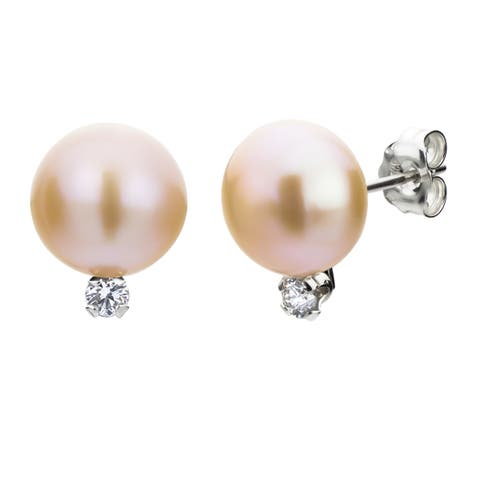 DaVonna Silver Pink Pearl and 1/10ct TDW Diamond Earrings (8-8.5 mm)