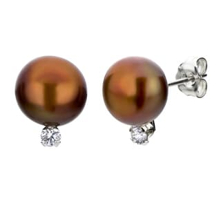 DaVonna Silver Brown Pearl and 1/10ct TDW Diamond Earrings (8-8.5 mm)
