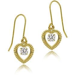 Icz Stonez 14k Gold Cubic Zirconia Heart Earrings