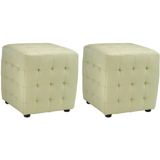 Safavieh Kristof Storage Off White Bicast Leather Ottomans (Set of 2)