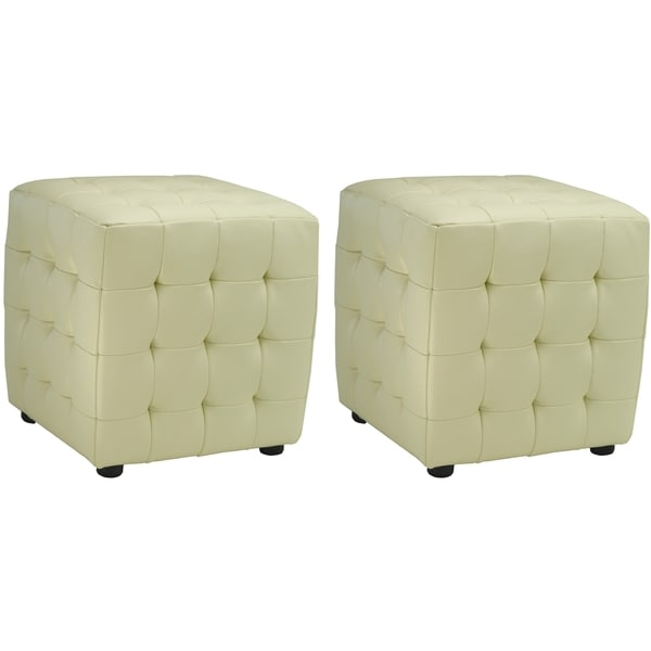 safavieh kristof storage off white bicast leather ottomans set of 2