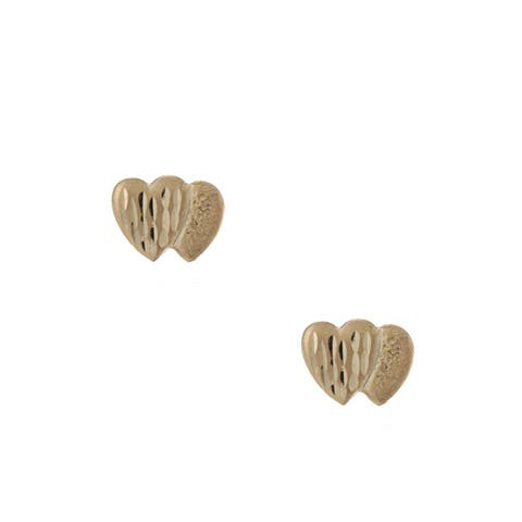 Mondevio 14k Gold Double Heart Diamond-cut Stud Earrings