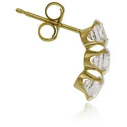 Icz Stonez 14k Gold Cubic Zirconia Triple Stud Earrings