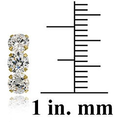 Icz Stonez 14k Gold Cubic Zirconia Triple Stud Earrings - Thumbnail 2