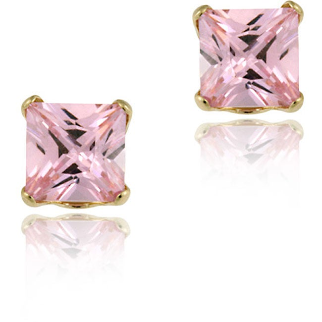 ICZ Stonez 14k Gold Cubic Zircoinia Princess Pink Stud Earrings