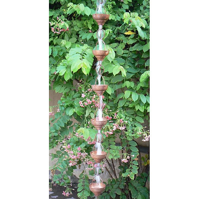 Monarch Pure Copper Eastern Hammered Rain Chain 8.5-Foot Inclusive of Installation Hanger