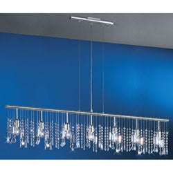 Linear 54-inch 7-light Bar Pendant Crystal Chandelier